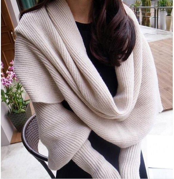 Europe and American style new winter wool scarves for men and women with sleeves knitted scarf thick warm high-end fashion