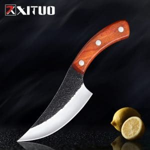 XITUO Professional Handmade High Carbon Stainless Steel Chef Knife Meat Fish Cleaver Kitchen Knife Rosewood Handle Cooking Tool